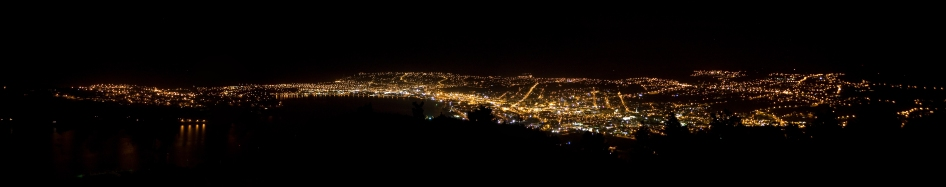Dunedin and Otago Habor at night from Signal Hill