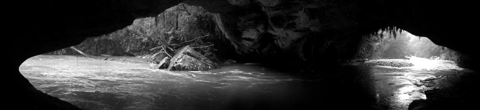 The Oparara River flowing through Moria Gate Arch