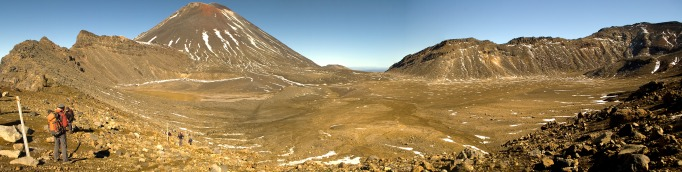 Panorama of South Crater between Mt. Ngauruhoe and Mt. Tongariro