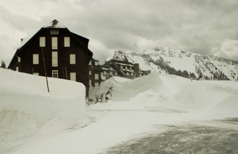 Winter snows envelop the Crater Lake Lodge