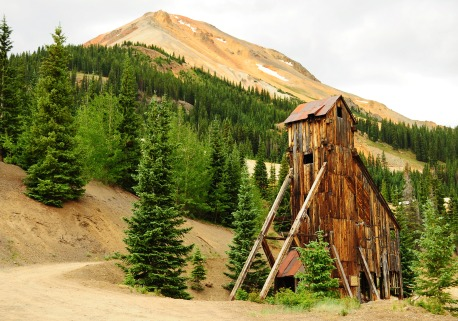 The main shaft of the Yankee Girl Mine, one of the most productive of the area's silver mines