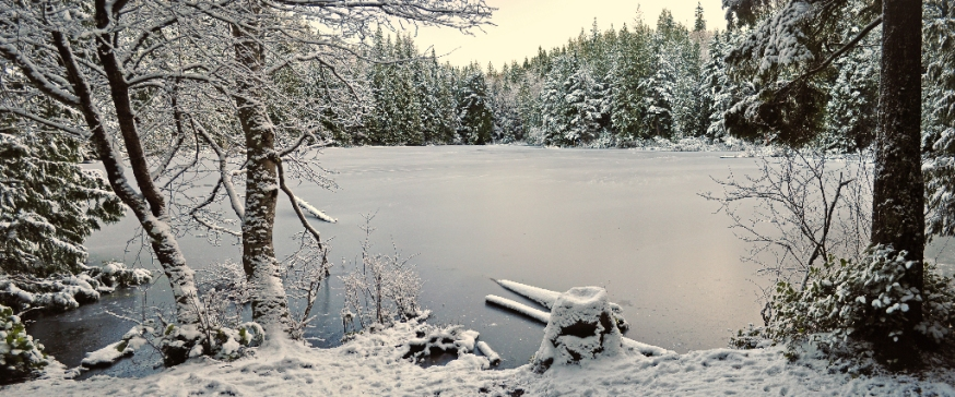 Cedar Lake after a rare low-altitude snowfall