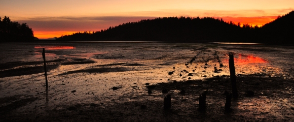 Sunset at low tide in Chuckanut Bay