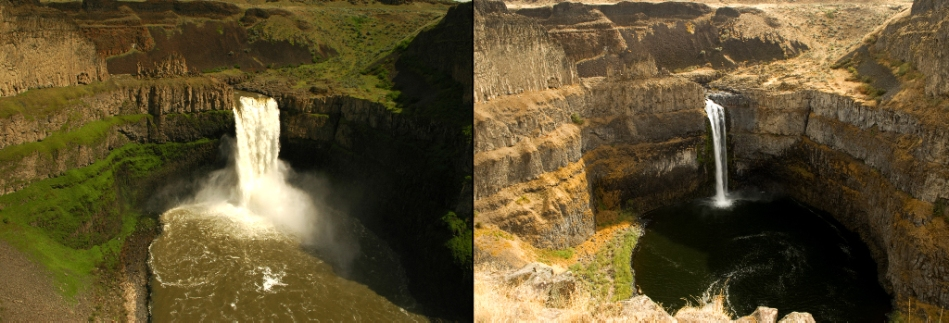Palouse Falls in Spring and Fall