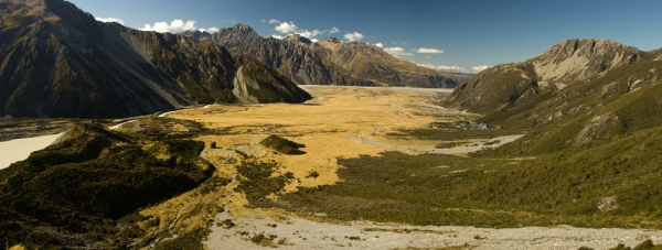 Looking down valley towards Mt. Cook Village from the Mueller Hut Route