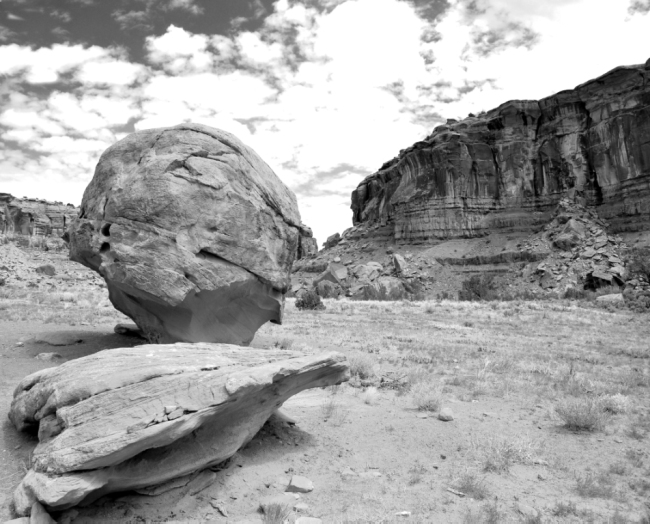 Wind-sculpted boulders on the floor of Dominguez Canyon