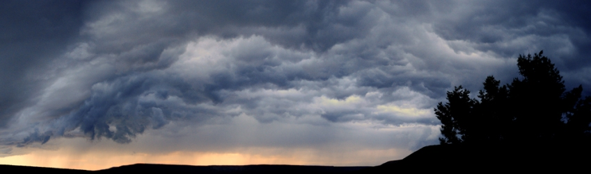 Thunderstorm clouds swirl above western Colorado