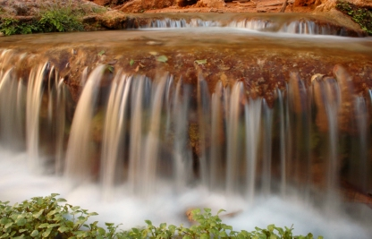 The waters of Havasu Creek tumble over a series of travertine terrances