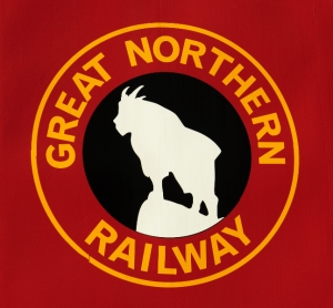 The logo of the Great Northern Railway at the Iron Goat Trailhead