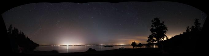 Night sky looking west across the Haro Strait from San Juan Island.