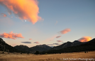 Sunset and Moon from Moraine Park