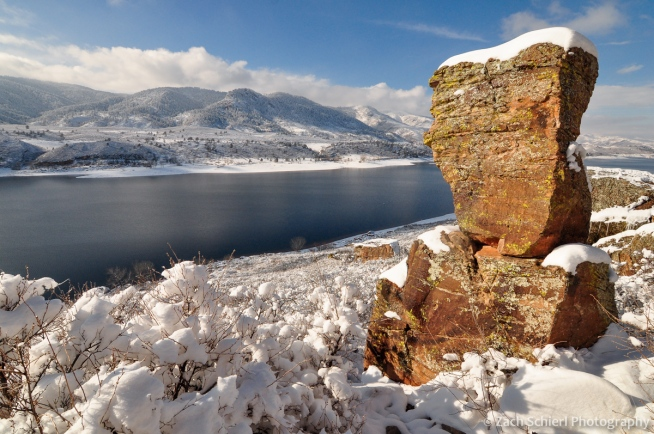 Boulders in the snow at Horsetooth Reservoir
