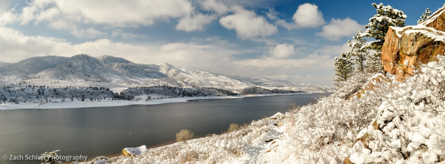 Horsetooth Reservoir in the snow