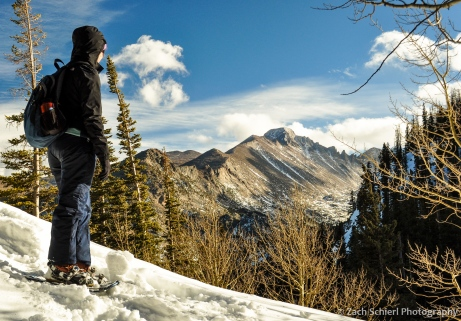 Looking out at Longs Peak in the snow