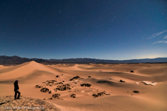 Death Valley sand dunes with stars