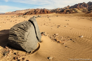 Ventifact and sand ripples, Death Valley National Park