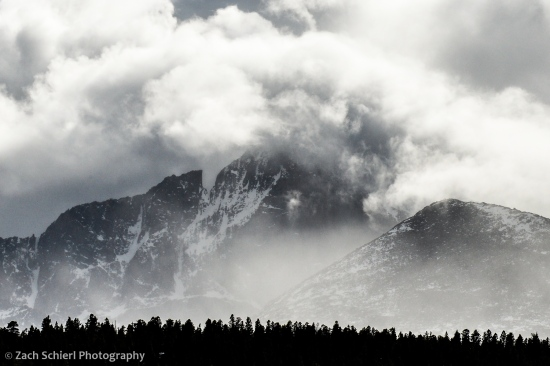 Longs Peak shrouded in a late-season storm, Rocky Mountain National Park, Colorado