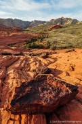 black boulders of hematite rich beds in the navajo sandstone, snow canyon state park, utah