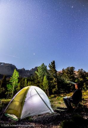 light from the full moon illuminates Wheeler Peak in Great Basin National Park
