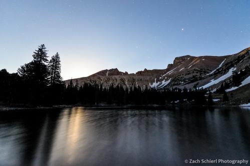 Ful moonlight over Wheller Peak and Stella Lake