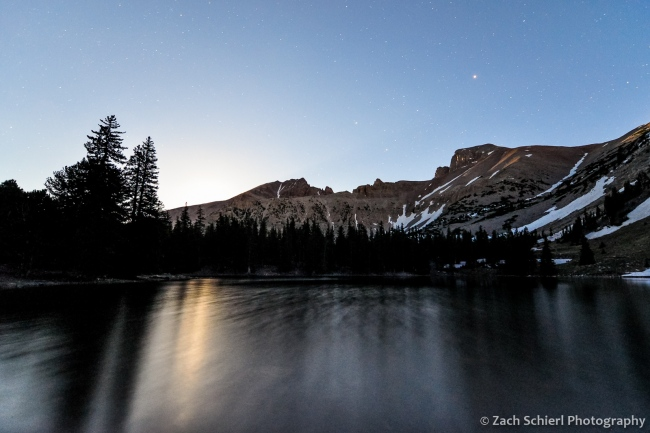 Ful moonlight over Wheller Peak and Stella Lake