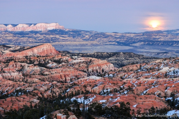Moonrise over Powell Point and the Sinking Ship, Bryce Canyon National Park
