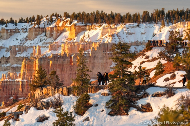 The crowds assemble for sunrise at Bryce Canyon National Park, Utah