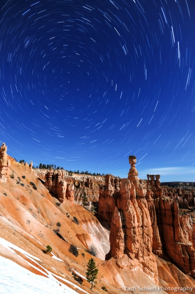Star trails above Thor's Hammer, Bryce Canyon National Park