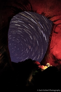 Star Trails as seen from an Alcove along Coyote Gulch, Utah