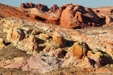 A layer-cake of spectacular colors in Valley of Fire State Park, Nevada