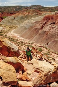 Climbing up a talus slope, Capitol Reef National Park, Utah