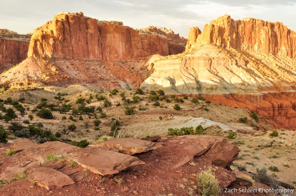 Sunlight on cliffs, Capitol Reef National Park, Utah