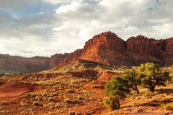 Sunlit cliffs at Capitol Reef National Park, Utah