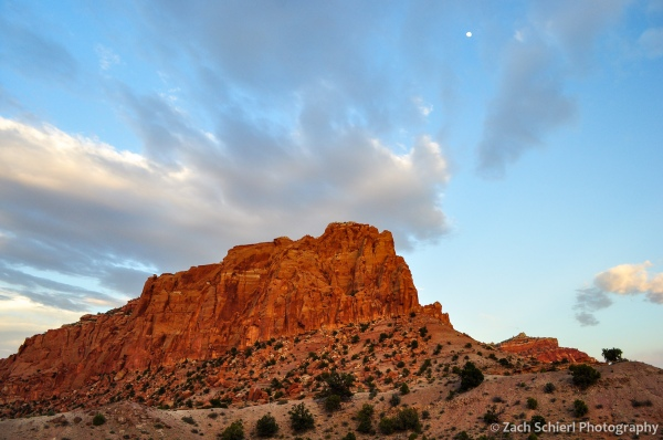 Moon rising above cliffs, Capitol Reef National Park, Utah