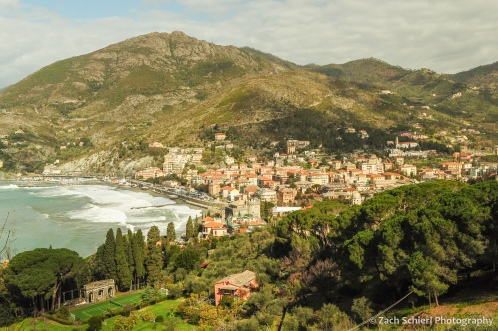 The city of Levanto and surrounding hills