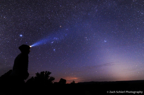 Photo of the spring night sky with zodiacal light and Orion