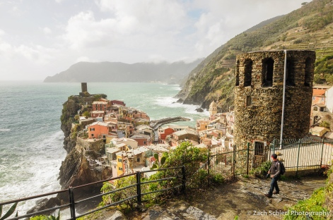 Colorful buildings and a view of the sea from Vernazza