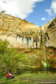 Upper Calf Creek Falls plunges into a verdant green pool
