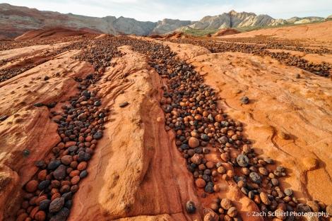 Multicolored spheres of hematite litter the ground