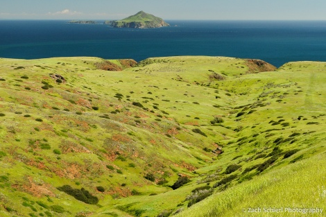 A view of an island covered in green grass with the deep-blue ocean and other islands in the background