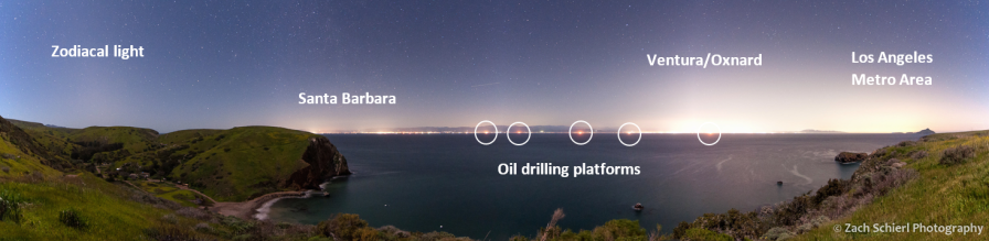 Nighttime image of Light Pollution from Santa Cruz Island with sources labeled