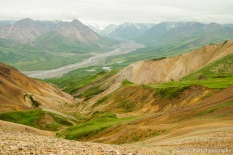 A landscape of barren rock, green vegetation, and distant glaciers and snowy peaks