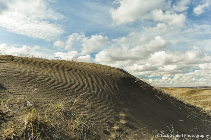 Ripples in a sand dune, grasses, and clouds