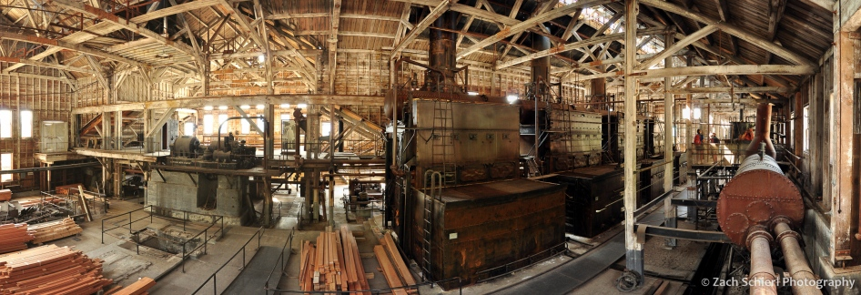 The interior of the Kennecott Power Plant, with massive boilers used to produce electricity and steam heat for the mines and town residents.