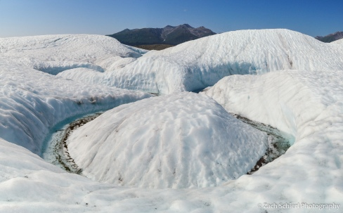 Meander in a meltwater channel, Root Glacier, Wrangell-St. Elias National Park and Preserve, Alaska