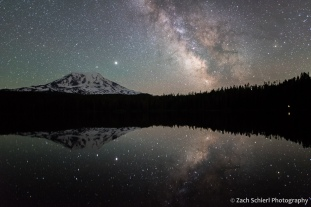Reflection of Milky Way and volcanic cone in a tranquil lake.