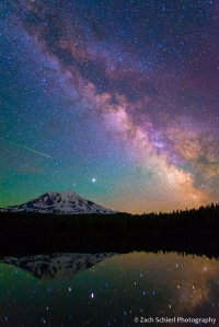 A photograph of the Milky Way with extremely vibrant colors