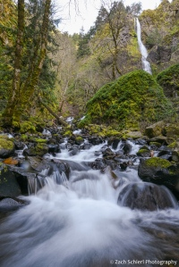 A waterfall and cascade flows through a verdant forest.