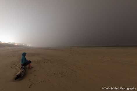 Mist and fog envelops the coast at Rockaway Beach, OR